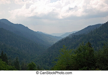 Distant Mountains - Overlapping mountian views high up in...