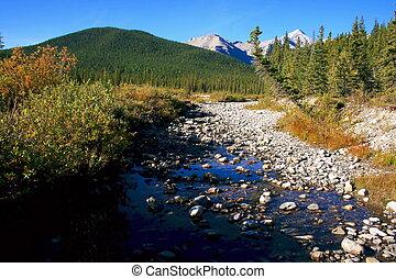 River Valley; mounta - Along the Little Elbow River,...