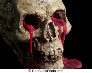 Bleeding Human Skull - A wax skull with red wax blood...