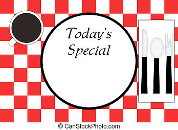 Restaurant Place Setting - Red checkered tablecloth, plate,...