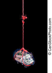 Savings at risk - Savings hanging from fraying rope