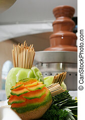 Choclate Fountain - A fresh melon ready to be dipped in...