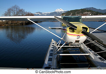 Ready for take-off - A seaplane moored in Squamish, BC on a...