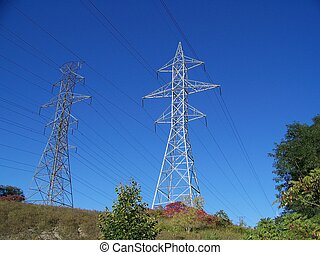 Two hydro towers surrounded by bushes, on a blue skyline