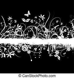 Chaotic floral grunge design with butterflies