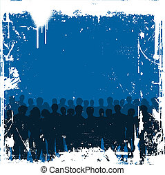 grunge crowd - Silhouette of a crowd of people on grunge...
