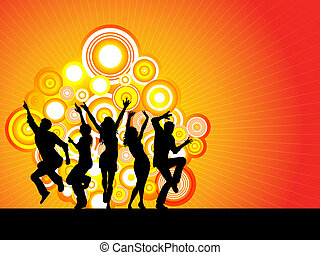 party time - Silhouettes of people dancing