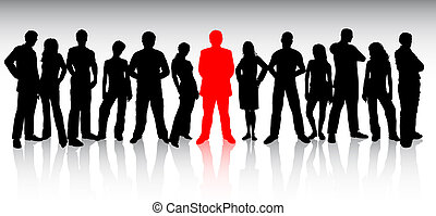 stand out from the crowd - Large group of people with one...