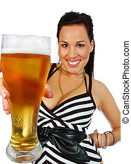 busty brunette with pint - busty brunette with a pint of...