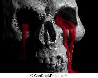 Black and White Bleeding Skull - Black and white photo of a...