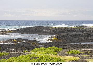 Rocks and Ocean, Kau District, Big Island, Hawaii - Volcanic...