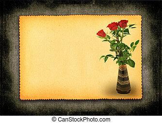 retro love card #2 - retro love card with flower motive,...