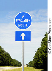 Evacuation Route - A highway sign marking Hurricane...