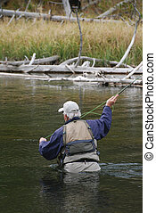 Man fly fishing in a river.