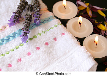 Facecloth with Lavender - White embroidered facecloth with...