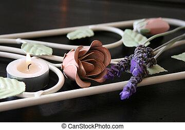 flores, forjado, hierro