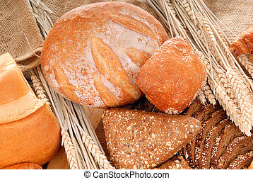 Varied bread display - Variety of nutritional breads,...