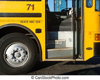 watch your step - a school bus with the door open