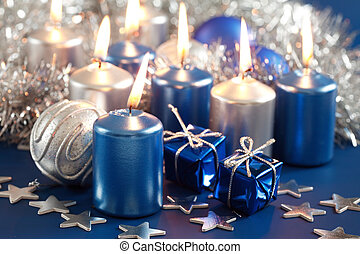 Blue Christmas - Christmas motive with gift and balls in...