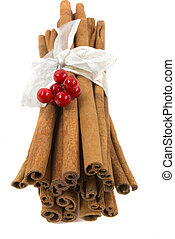 Cinnamon Sticks - Cinnamon sticks with ribbon and berries...