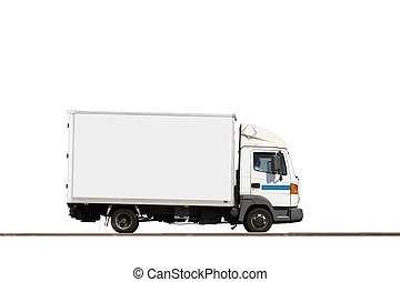 Isolated cargo truck - Cargo Truck with blank body ready for...