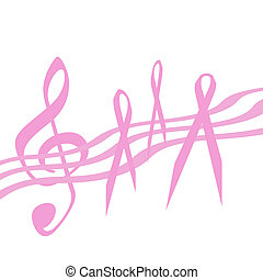 pink ribbon music - breast cancer awareness pink ribbon and...