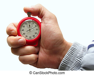 time forward - male hand with switched-on seconds counter