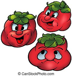 Three Tomatoes - High detailed and coloured cartoon...