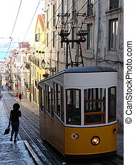A funicular in Lisboa - Bica Funicular in Lisboa waiting to...