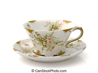 Antique Teacup and Saucer on White - Antique teacup and...