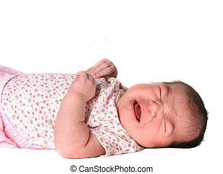Infant Baby Girl Crying on White