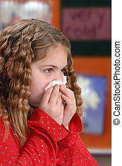 Sniffles - Girl showing proper hygiene by using a tissue
