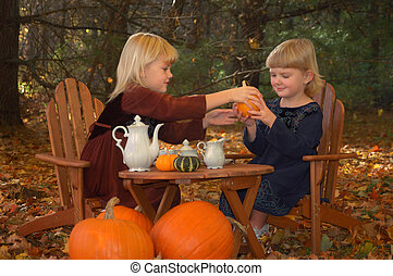 Autumn Tea Party - Two young girls having a tea party...