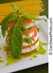 Mozzarella salad - fresh and original mozzarella and tomato...