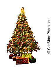Isolated Christmas tree - Decorated Christmas tree with...