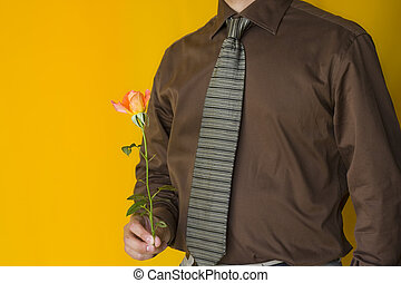 Businessman with a rose