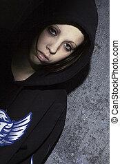 hoodie - beautiful girl in hoodie