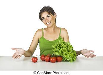 Healthy lifestyle - Beautiful young woman in the kitchen...