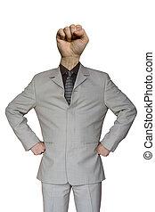 hombre de negocios, puño, mano, cabeza