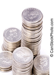 Coins Stack with white background