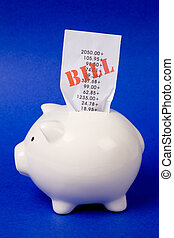 Piggy Bank and bills, concept of financial problem,...