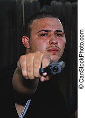 Gangster Rap - Picture of a Gangster Rapper in a bad part of...