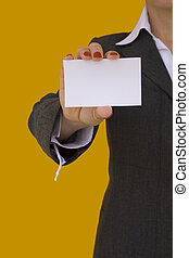 businesswoman holding a card 1