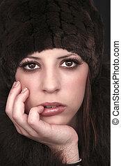 brown eyes - beautiful brown eyed woman wearing fur hat