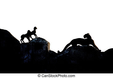 Panther hunting lambs - Silhouette of panther hunting lambs,...
