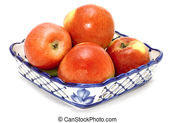 Blue basket with apple