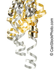 Christmas Curly Ribbons Isolated On White (with clipping...