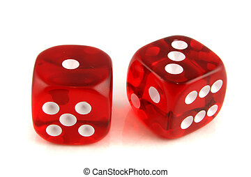 2 dice showing 1 and 3 - 2 Dice close up - showing the...
