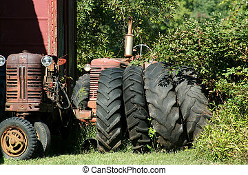 Old red tractors