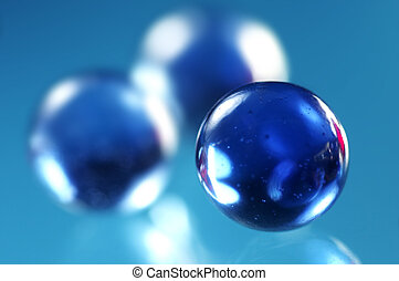Spheres - Three blue glass spheres
